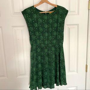 Alice + Olivia Silk Emerald Flare Waist Dress